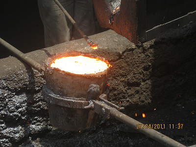 Molten iron from a blast furnace
